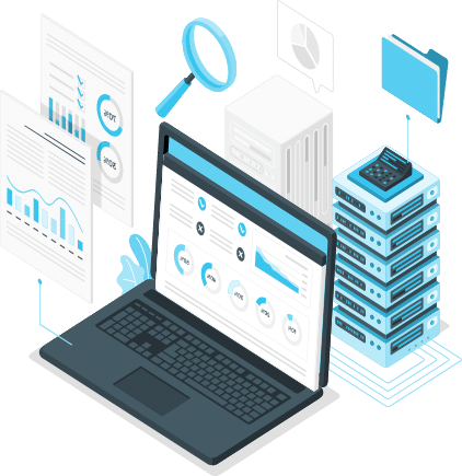 Illustration of open laptop with servers, folder, magnifying glass, and documents surrounding