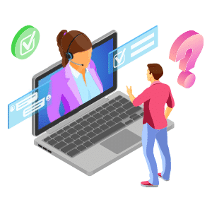 Illustration of man in front of open laptop with customer support person on screen, question mark, check mark, and chat bubbles surround