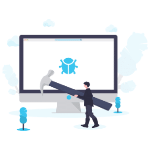 Illustration os man with big hammer in front of computer monitor with bug on screen, small illustration trees in front of it