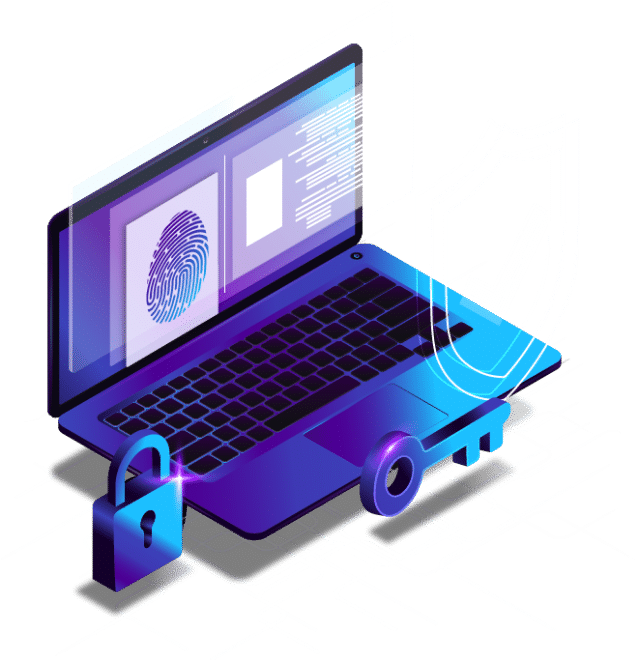 Illustration of laptop with padlock, key, shield, and documents surrounding with finger print on laptop screen