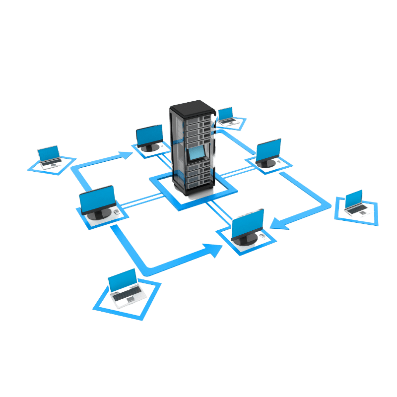 Illustration of laptops and monitors in a square with arrows connecting them with a server in the middle