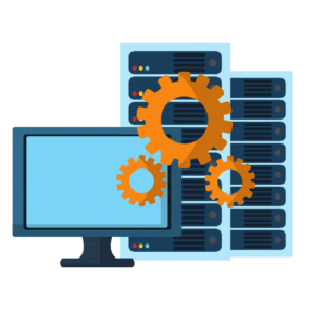 Illustration of computer monitor with servers behind it and gears overlapping