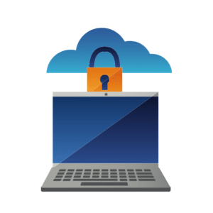 Illustration of open laptop with padlock and cloud above