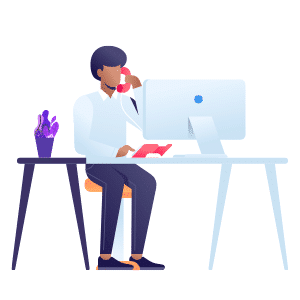 Illustration of man at desk on the phone in front of a computer monitor
